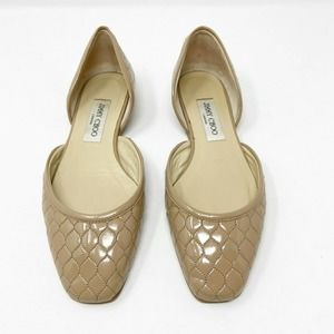 Jimmy Choo D'Orsay Patent Leather Quilted Flats